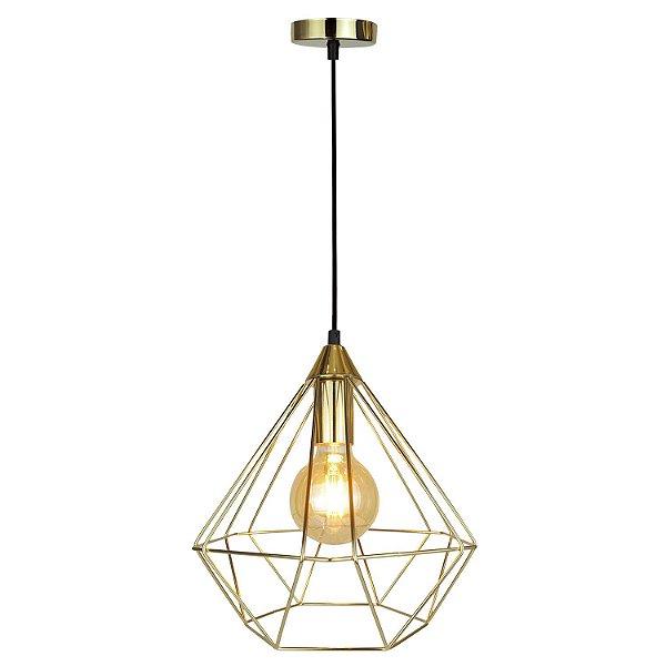 P15113D-Gold – Pendente aramado diamante - Atacadista - Premier Iluminação