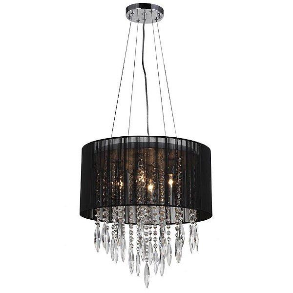 A493-Black - Lustre tramado preto e cristal - Atacadista - Premier Iluminação