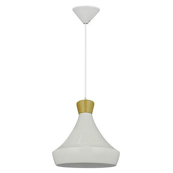 P13232-A – Pendente branco metal e madeira A - Atacadista - Premier Iluminação