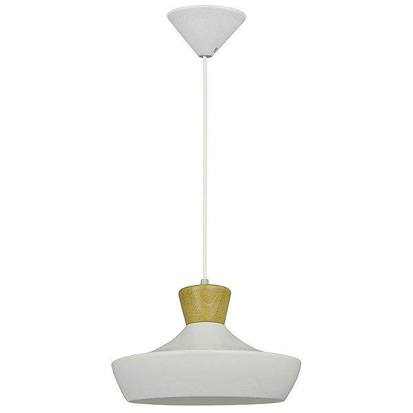 P13232-B – Pendente branco metal e madeira B - Atacadista - Premier Iluminação