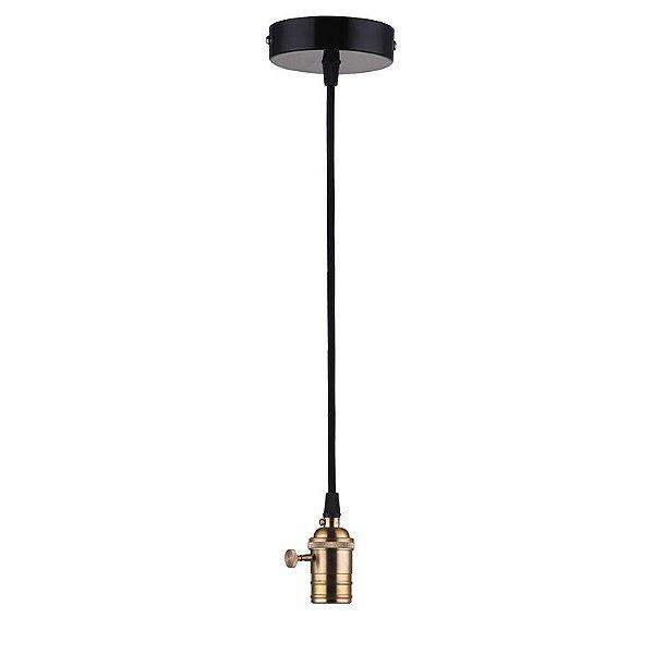 P15048B – Fio liga-desliga preto-dourado - Atacadista - Premier Iluminação