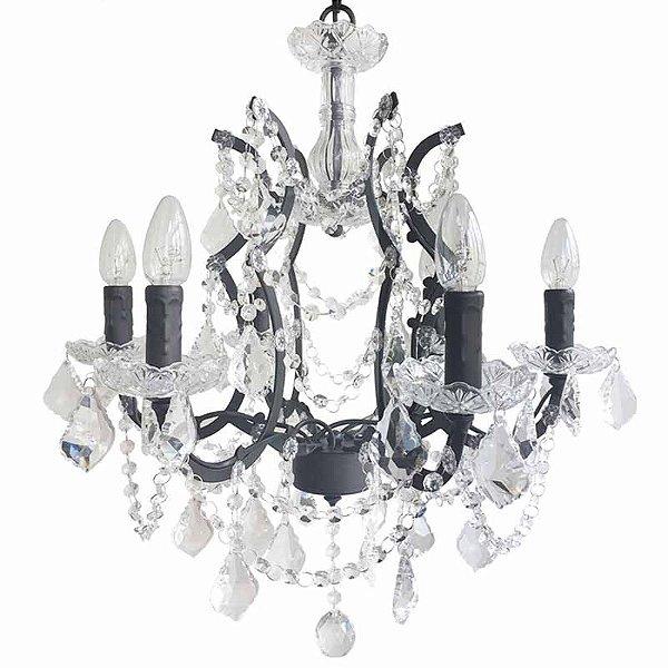 P15082-6 – Lustre 6 braços metal e cristal - Atacadista - Premier Iluminação