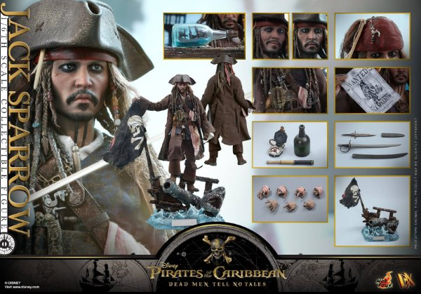 Jack Sparrow Piratas do Caribe A vingança de Salazar Dx15 Hot Toys original