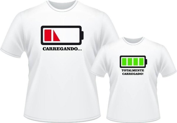 fb0445c4004e3 Camiseta Tal Pai, Tal Filho(a) - Bateria cheia - Vista Camisetas.com ...