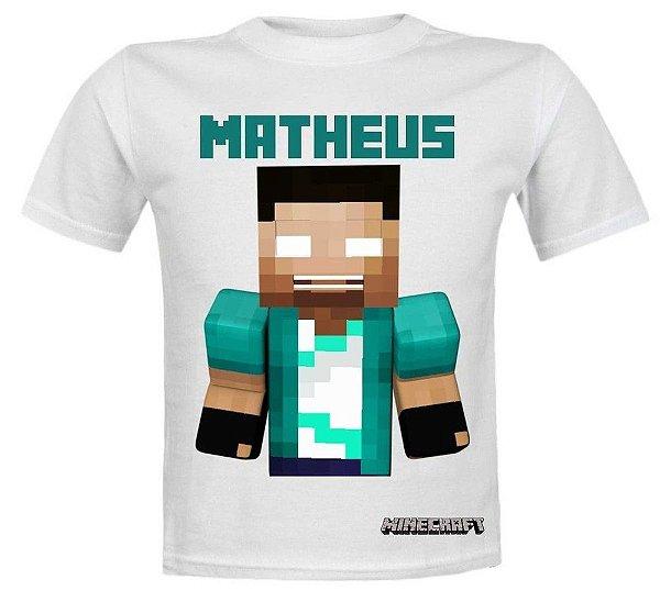 Camiseta Minecraft Personalizada com nome - Branca