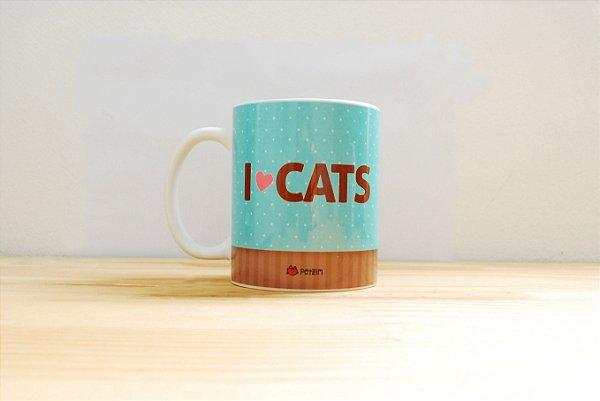 Caneca Porcelana - I Love Cats