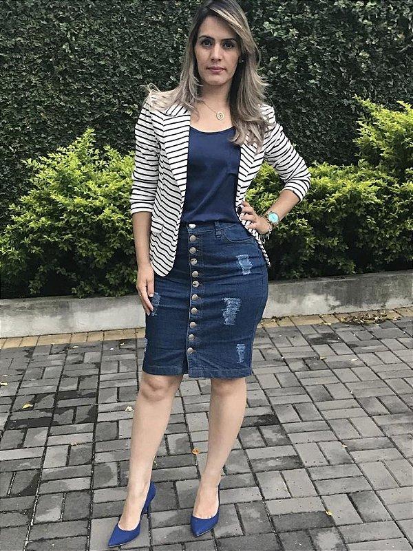 Saia Jeans Botões Frontais Escura