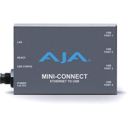 Conversor AJA Mini-Conector via Ethernet para 4 portas USB