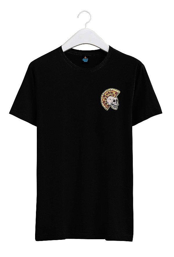 Camiseta Bordada Caveira Pizza Punk