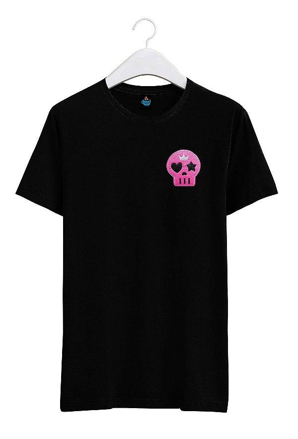 Camiseta Bordada Caveirinha Rosa