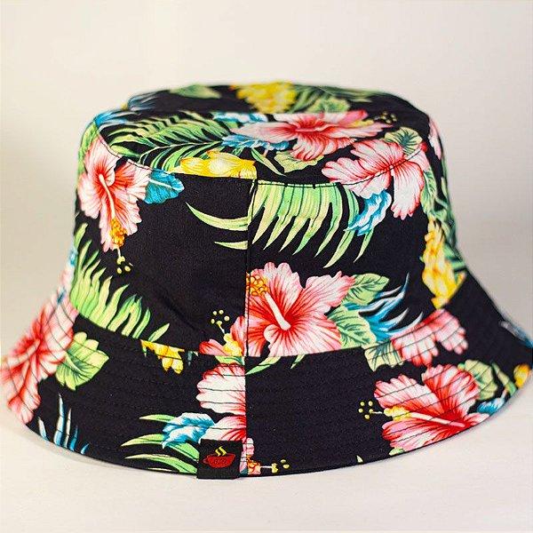 Bucket Hat Floral Preto