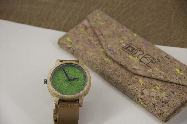 Wooden Watch Bambu Green Pasta
