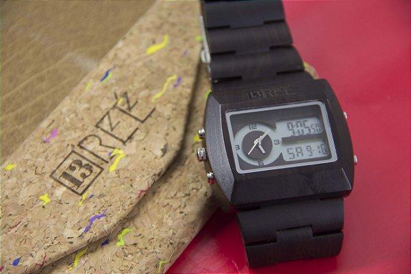 Wooden Watch Digital Dark Brown