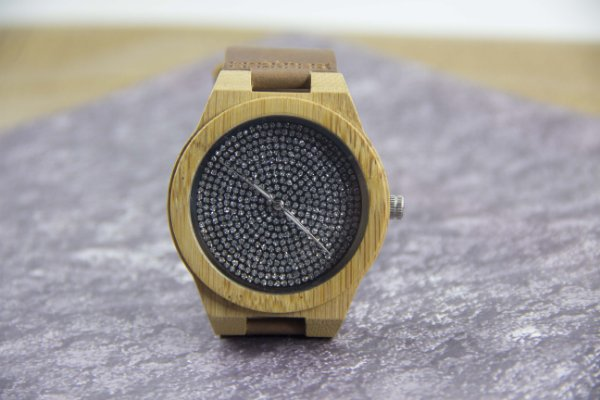 Wooden Watch Strass Brown