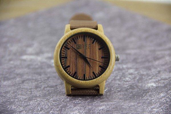 Wooden Watch Bambu Lines Brown