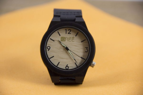 Wooden Watch Beige Black