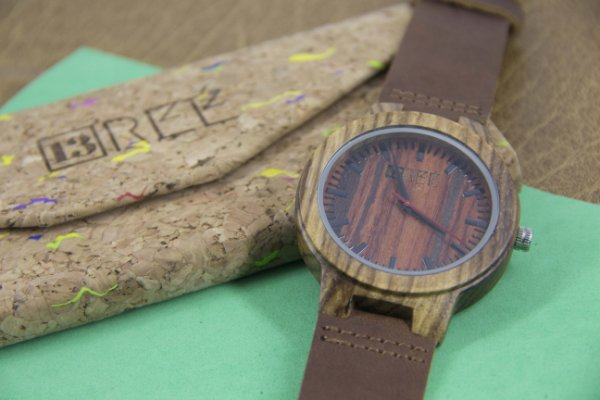 Wooden Watch Lines Wine Brown