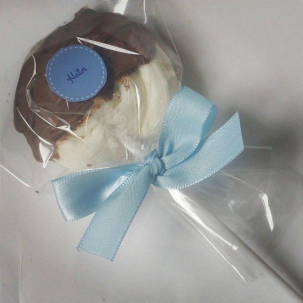 Pirulito Tradicional com calda de chocolate ao leite e TAG personalizada