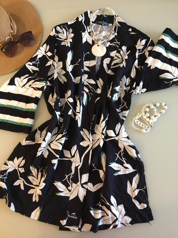 Kimono preto Folhas