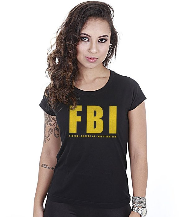 Camiseta Militar Baby Look Feminina FBI Federal Bureal Of Investigation