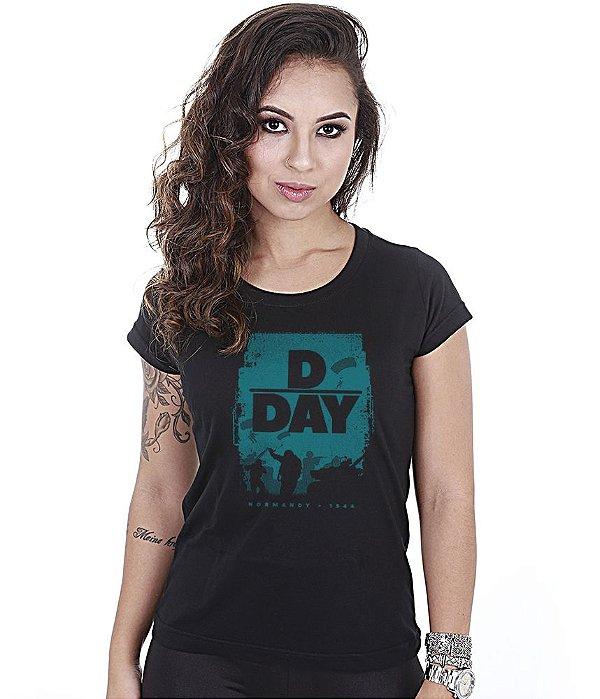 Camiseta Militar Baby Look Feminina D Day Normandia