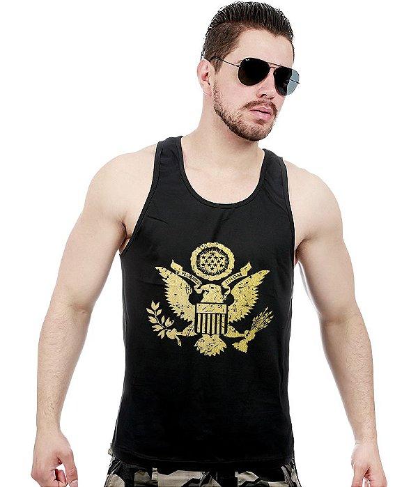 Camiseta Regata Militar EUA Justice United States Gold Line