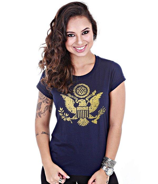 Camiseta Militar Baby Look Feminina EUA Justice United States Gold Line