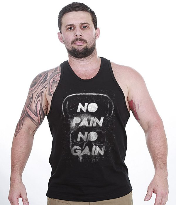 Camiseta Regata Academia Black Skull No Pain No Gain