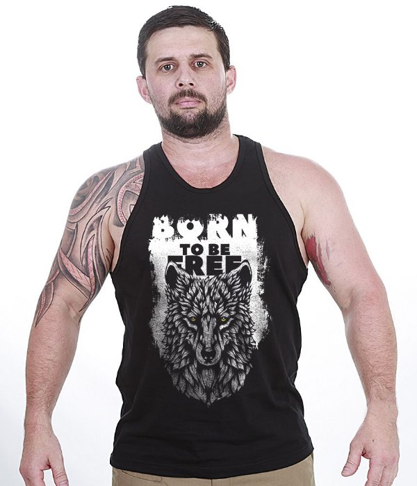 Camiseta Regata Outdoor Wolf Born To Be Free