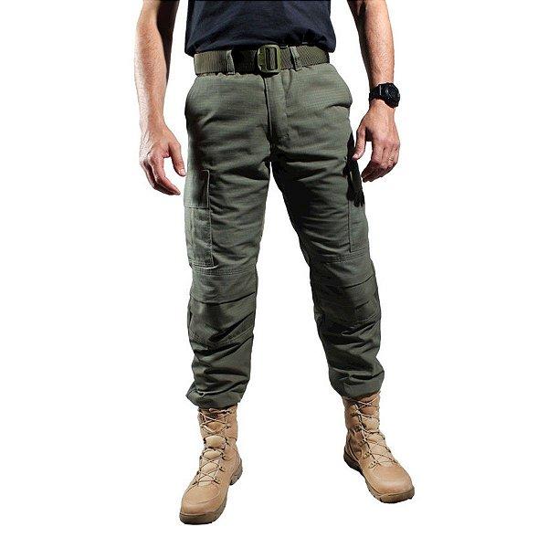 Calça Tática Combat Com Reforço Treme Terra Verde Oliva
