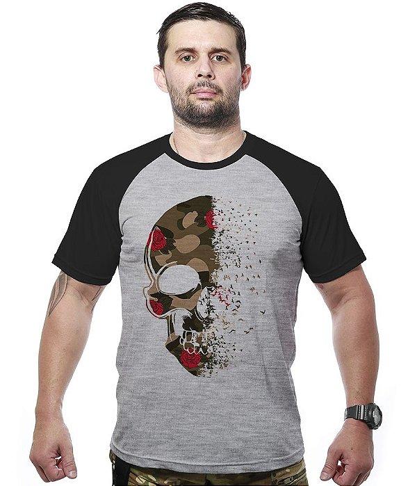 Camiseta Raglan Multicam Roses Skull