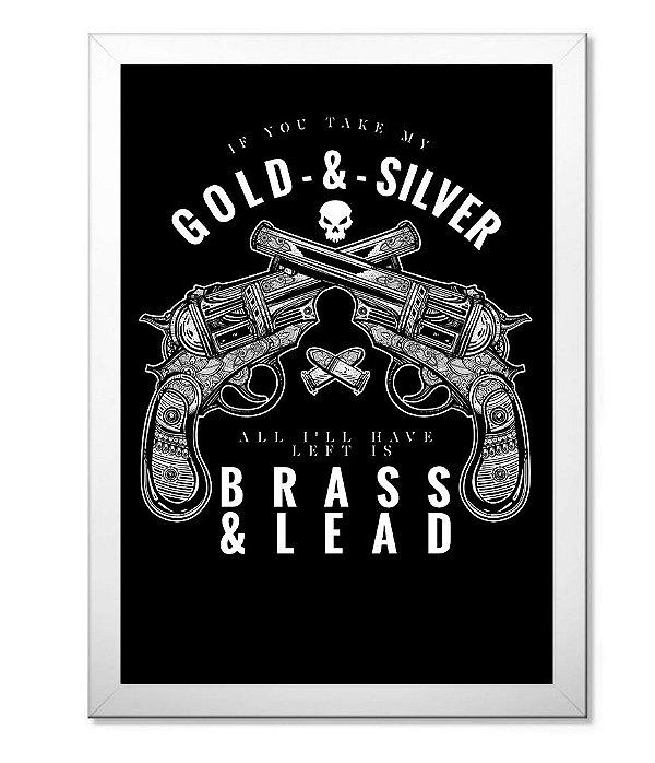 d168d8a3c7 Poster Militar Com Moldura - Gold & Silver - Camisetas Militares ...