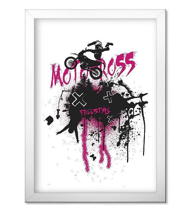 Poster com Moldura Motocross Off Road Freestyle