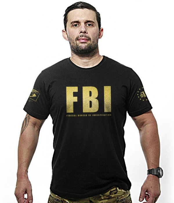 Camiseta FBI Federal Bureal Of Investigation Gold Line