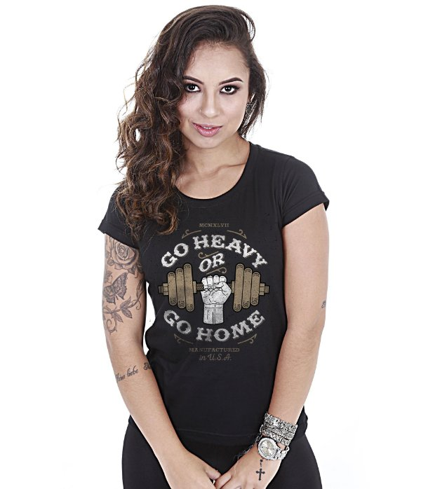 Camiseta Academia Baby Look Feminina Go Heavy Or Go Home