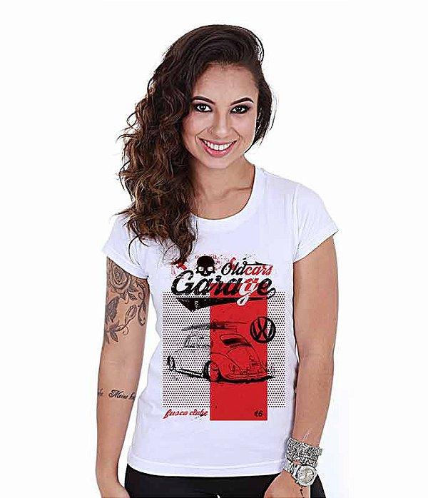 Camiseta Old Cars Baby Look Feminina Fusca Garage