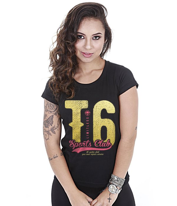 Camiseta Motorcycle Baby Look Feminina T6 Sports Club