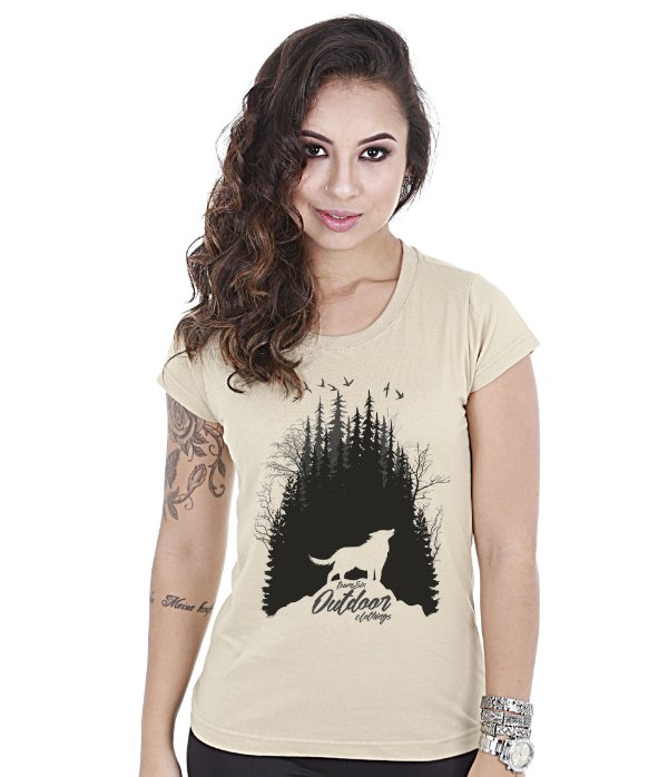 Camiseta Outdoor Baby Look Feminina Wolf Team Six