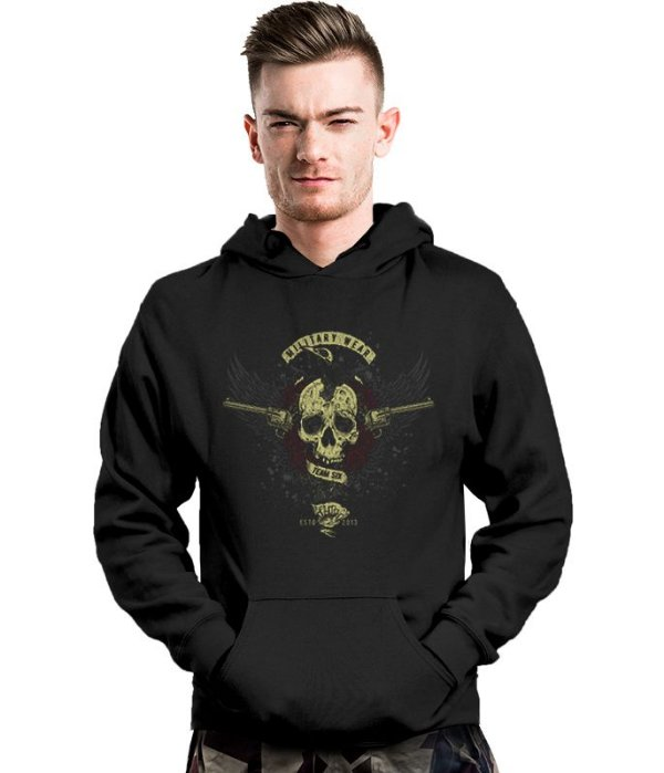 Casaco Militar Com Capuz Guns Skull Roses