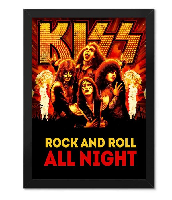 Poster com Moldura Kiss Rock and Roll