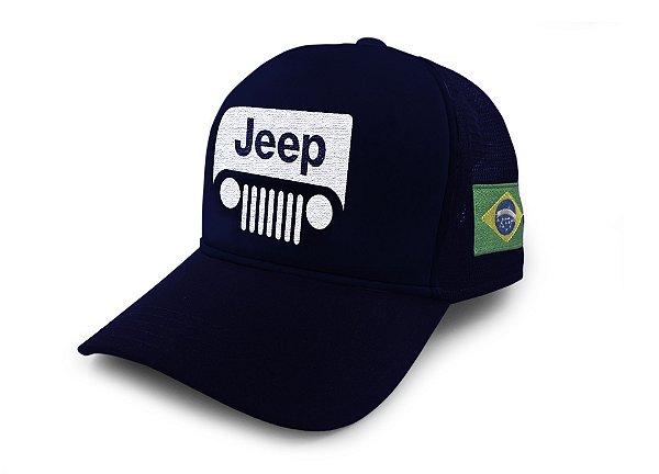 Boné Trucker Jeep Off Road Brasil Azul