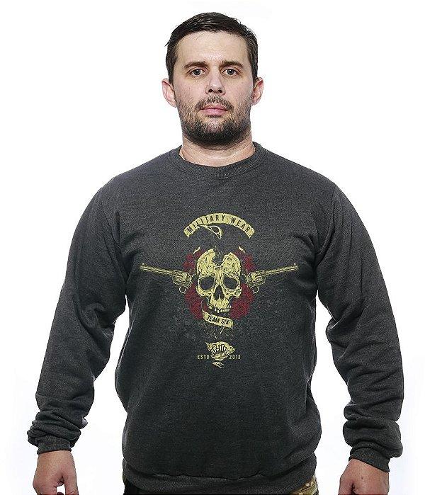 Casaco Básico de Moletom Guns Skull Roses
