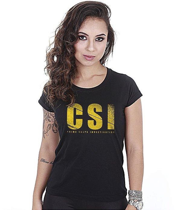 Camiseta Militar Baby Look Feminina CSI Crime Scene Investigation