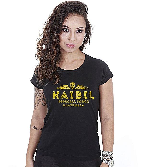 Camiseta Militar Baby Look Feminina Kaibil Especial Force Guatelama