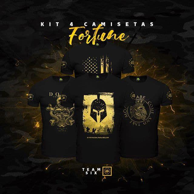 Kit  4 Camisetas Militares Pretas Masculinas Soldiers Of Fortune