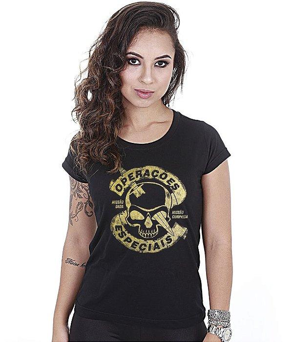 Camiseta Militar Baby Look Feminina Operações Especiais