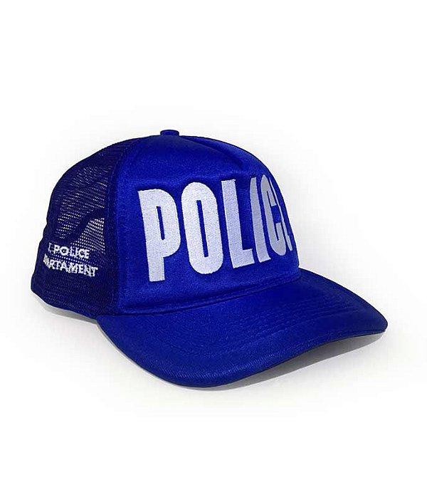 Boné Trucker Militar POLICE NYPD Azul Royal
