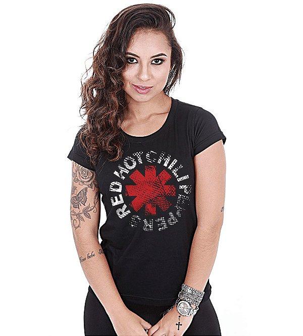 Camiseta Baby Look Feminina Banda de Rock Red Hot Chili Peppers