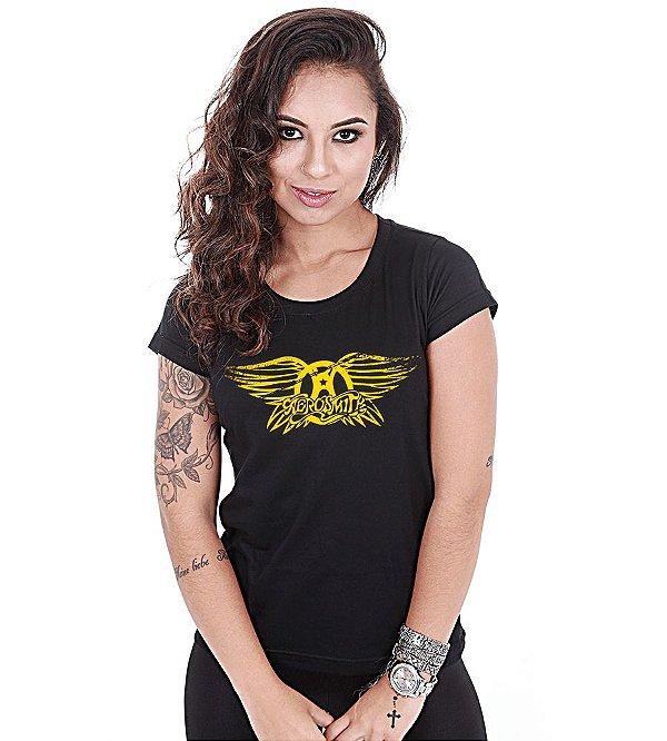Camiseta Baby Look Feminina Banda de Rock Aerosmith