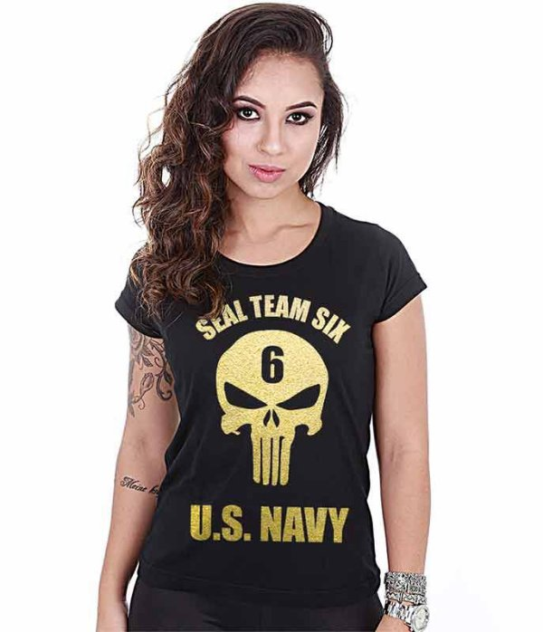 Camiseta Militar Baby Look Feminina Punisher Seal Team Six US Navy Gold Line